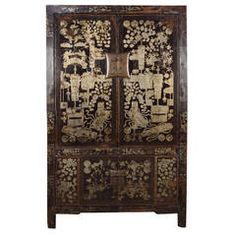 19th Century Chinese Shadow Black Lacquer Cabinet