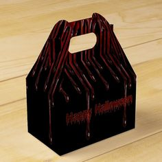 Shop Happy Halloween Blood Drips Gable Favor Box created by ManCavePortal. Halloween Favors, Halloween Party Supplies, Happy Halloween, Custom Napkins, Party Hacks, Favor Boxes, Invitation Cards, Art For Kids, Wedding Gifts