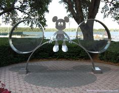 Mickey Mouse metal sculpture at Disney's Contemporary Resort at Disney World.  For more photos of this Disney World hotel, see http://www.buildabettermousetrip.com/disneys-contemporary-resort-hotel