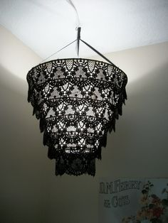 Venise Lace Faux Chandelier Pendant Lamp Shade 'Black'(((((will be on vacation on July from cokiethebaby on Etsy. Chandelier Shades, Chandelier Lamp, Chandelier Ideas, Pendant Lamps, Diy Luminaire, Modern Lamp Shades, Lampshades, Lampshade Ideas, Lamp Ideas