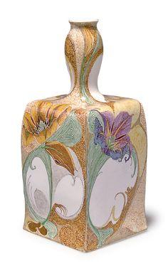 Samuel Schellink for Haagsche Plateelbakkerij Rozenburg. Vase, 1902.  Eggshell porcelain, polychromatic glaze. H. 18.7 cm     SOLD 4,000 EUR, 2013