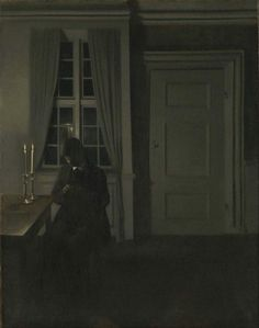 """https://www.facebook.com/MiaFeigelson """"The coin collector"""" (1904) By Vilhelm Hammershøi, from Copenhagen, Denmark (1864 - 1916) - oil on canvas; 89 x 69.5 cm - © The National Museum of Art, Architecture and Design, Norway - Oslo, Norway http://www.nasjonalmuseet.no/no/ https://www.facebook.com/nasjonalmuseet"""