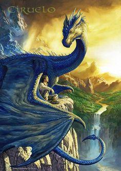 Eragon y Saphira - Pintura para el libro de Christopher Paolini- Ciruelo Cabral
