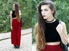 Designed By Me Velvet Crop Top, Zara Maxi Skirt, Styleground Creepers - Lets fall in love - Holynights Claudia