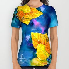 "Yellow Fall Aspen Tree Leaves Shirt, Ladies, Unisex, Autumn Watercolor Painting Art ""Leaves Of Fall"" by Kathy Morton Stanion  EBSQ"