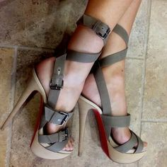 Cute strappy heels. Wish they were shorter!!