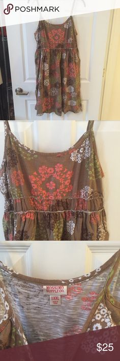 Floral Spaghetti Strap Sundress Super cute brown dress with coral floral print! Throw on a jean jacket for a casual look or a sun hat on the beach! Dresses Mini