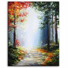 'Woodland Path' by Gleb Go Canvas Painting Watercolor Landscape, Landscape Art, Landscape Paintings, Modern Paintings, Oil Paintings, Go Canvas, Oil On Canvas, Woodland Art, Trending Art