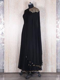 Black Silk Designer Anarkali Suit