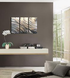 #Contemporary Decor - Gray walls with metal #wall_art