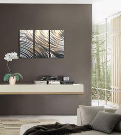 #Contemporary Decor - Gray walls with metal #wall_art