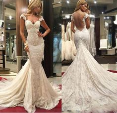 2016 Lace Wedding Dresses with Cap Sleeves Backless Bridal Hot Selling Sweetheart Sheer Back Spring Cathedral Wedding Gowns Online with $137.44/Piece on Hjklp88's Store | DHgate.com