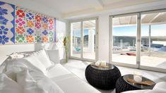 Bespokers - Luxury Holiday Villa Zeus in Mykonos / Bespokers Outdoor Dining, Dining Area, Phillips Starck, Luxury Villa Rentals, Built In Seating, Luxury Holidays, Mykonos, Plant Decor, Luxury Living
