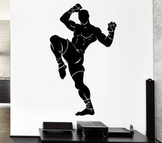 Wall Decal Sport Athlete Fighter Martial Arts Kickboxing Vinyl Decal (ed353)