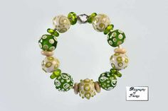Zieleń łąki - biographyofthings - Biżuteria lampwork glass beads bracelet