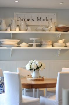 open shelving and calming white