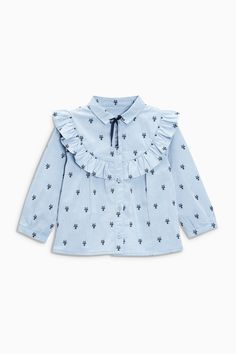 Buy Blue Cat Jacquard Shirt from the Next UK online shop - Babykleidung Kids Outfits Girls, Little Girl Dresses, Frocks For Girls, Shirts For Girls, Kids Frocks Design, Baby Frocks Designs, Little Girl Fashion, Fashion Kids, Baby Outfits