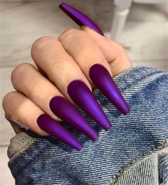 Favored purple coffin nails design in 2019 – Long Nails Cute Acrylic Nails, Cute Nails, Pretty Nails, Purple Nail Designs, Acrylic Nail Designs, Coffin Nail Designs, Spring Nails, Summer Nails, Nail Selection