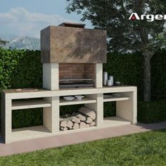 Ideas Patio Fireplace Grill Brick Bbq For 2019 Outdoor Barbeque, Barbecue Area, Outdoor Oven, Backyard Sheds, Backyard Patio, Argentinian Bbq, Parrilla Exterior, Brick Grill, Built In Braai
