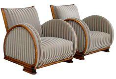 1930s Art Deco Club Chairs, Pair