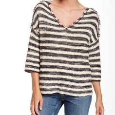 Free People Sweater Soft stretch cotton V neck pullover, long dolman three-quarter sleeves, raw cut hemline I DO NOT TRADE Free People Sweaters