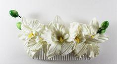 Pente de Orquídeas Brancas