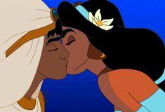 Day five Disney challenge: Aladdin Disney Amor, Disney Kiss, Disney Couples, Disney Magic, Jasmine E Aladdin, Princesa Disney Jasmine, Cartoons Love, Disney Cartoons, Disney And More