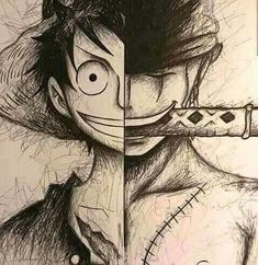 Luffy & Zoro (not my drawing, credit to whoever did it! Naruto Sketch, Naruto Drawings, Naruto Art, Anime Sketch, My Drawings, One Piece Manga, One Piece Drawing, Zoro One Piece, Manga Anime