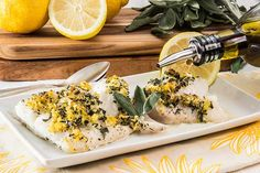 An easy 5-ingredient baked cod recipe that's ready in about 25 minutes. This healthy baked cod is filled with the fresh, zesty flavors of lemon and sage.