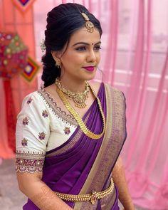 Silk Saree Blouse Designs, Wedding Saree Blouse Designs, Half Saree Designs, Simple Blouse Designs, Silk Sarees, Blouse Designs Catalogue, Long Dress Design, Work Blouse, Gold Jewellery