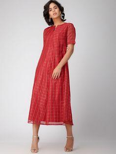 Red Handwoven Chanderi Silk-Cotton Dress with Zari