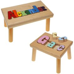 Personalized puzzle stool baby pinterest personalized puzzles hand crafted just for you the personalized name puzzle stool from hollow woodworks is an negle Images