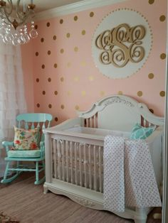 Baby Girl Nursery- Coral, Gold, and Turquoise, floral, and polka dots