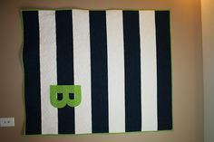 Personalized Baby Boy Quilt. Navy, White, and Lime Green.  You tell me the initial, or name.. $125.00, via Etsy.