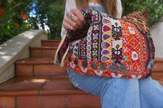 FIRST LOVE - hand embroidered vintage tote