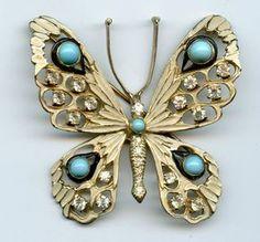 Vintage Nettie Rosenstein Sterling Silver Rhinestone Turquoise Butterfly Pin | eBay