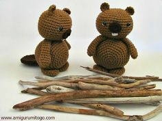 brown crochet beavers