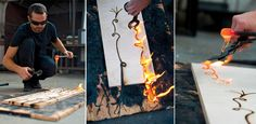 Dripped molten glass onto wood, which creates burnt areas. Jonah Ward
