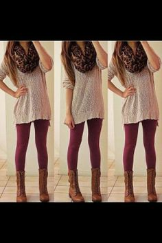 I love the color choices, and the boots go really well with this outfit