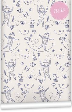 mm0230w - Mice & Cats cute nursery wallpaper. Muffin & Mani's Whimsical Wonderland Collection. Washable PVC Free paper on a non woven backing.