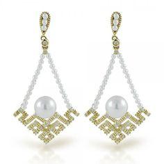 Vintage Diamond & Pearl Chandelier Earrings