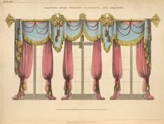 1826 Drawing room window curtains and drapery