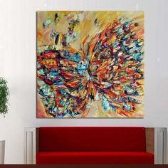 Handpainted Animal Wall Pictures Abstract Colorful Butterfly Art Oil Painting On Canvas Home Decor Hang Wall Art Cheap Canvas Art, Large Canvas Art, Picture Room Decor, Picture Wall, Hand Painting Art, Oil Painting On Canvas, Canvas Paintings, Abstract Paintings, Canvas Home
