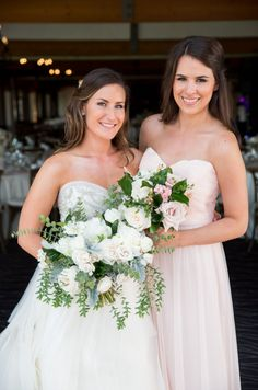 Garden romantic ivory & blush bridesmaid bouquets by San Diego wedding florist, Compass Floral.