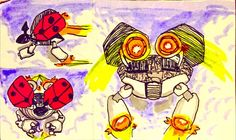 #marchofrobots 3 different views of LB-816 #ladybug inspired #robot #doodle #drawing #sketch #art #mech #red #twitter