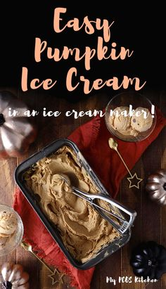 Use your kitchenaid ice cream maker attachment to make the best dairy free ice cream recipe ever! This pumpkin ice cream is perfect for fall season and Halloween! Best Dairy Free Ice Cream Recipe, Pumpkin Spice Ice Cream Recipe, Pumpkin Ice Cream, Ice Cream Recipes, Sugar Free Desserts, Low Carb Desserts, Dessert Recipes, Keto Recipes, Healthy Desserts