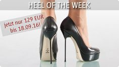 Heel of the week - 12.09.2016 - 18.09.2016 Plateau-Pumps aus Leder mit schwarz lackiertem Stiletto-Absatz, schwarzes Nappaleder, beige Sohle. High Heels Made in Italy.