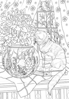Cat and Fish - Printable Adult Coloring Page from Favoreads (Coloring book pages for adults and kids, Coloring sheets, Colouring designs) Cat Coloring Page, Printable Adult Coloring Pages, Animal Coloring Pages, Coloring Pages To Print, Free Coloring Pages, Coloring Sheets, Coloring Pages For Grown Ups, Coloring Books, Kids Coloring