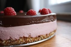 Raw Raspberry Cheesecake with Chocolate Ganache