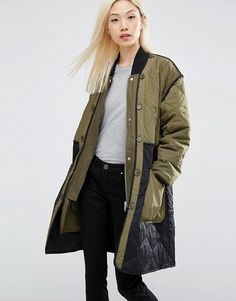 ASOS | ASOS 2 In 1 Parka with Color Block in Quilt